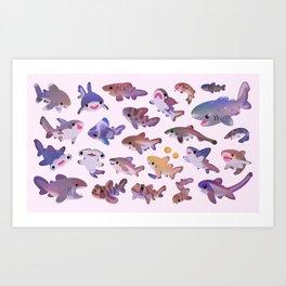 Shark day2 - bright Art Print