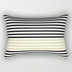 Black and White and Gold Stripes (Striped Pattern) Rectangular Pillow