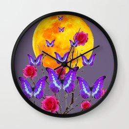 PURPLE COLOR  FULL MOON PURPLE BUTTERFLIES Wall Clock