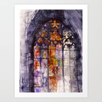 stained glass Art Prints featuring Stained glass by takmaj