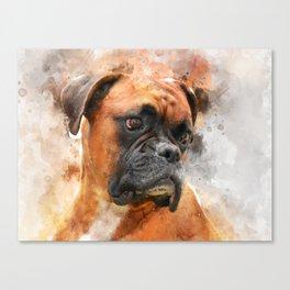 Boxer Dog Thinking Canvas Print