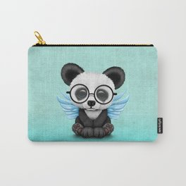 Cute Panda Cub with Fairy Wings and Glasses Blue Carry-All Pouch
