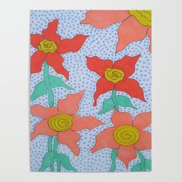 Flowers in the Rain Poster