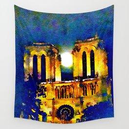 Notre Dame de Paris Full Moon Wall Tapestry