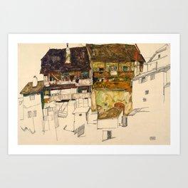Egon Schiele - Old Houses in Krumau Art Print