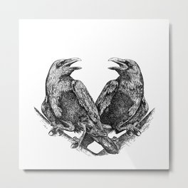 Odins Ravens Huginn and Muninn Metal Print