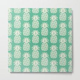 Mid Century Modern Pineapple Pattern Beige Green Metal Print