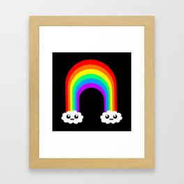 Happy Rainbow (Single On Black) Framed Art Print