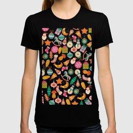 zipped merry christmas pattern T-shirt