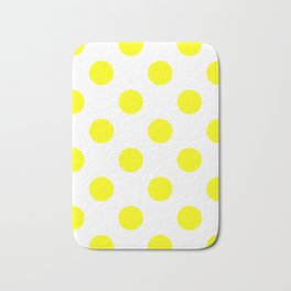 Large Polka Dots - Yellow on White Bath Mat