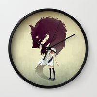 girl Wall Clocks featuring Werewolf by Freeminds