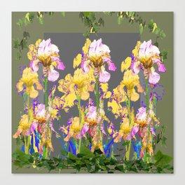 SPRING IRIS GARDEN FLORAL & IVY PATTERN DESIGN Canvas Print