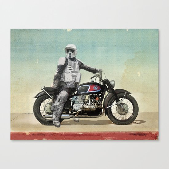 Looking for the drones, Scout Trooper Motorbike Canvas Print