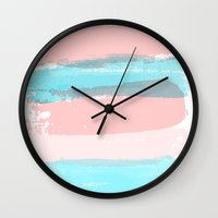 the strokes Wall Clocks featuring Flowers strokes by Simi Design