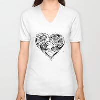 ferret V-neck T-shirts featuring Ferret Love by Mel Hampson