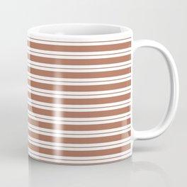 Sherwin Williams Canyon Clay Horizontal Line Pattern on White 1 Coffee Mug