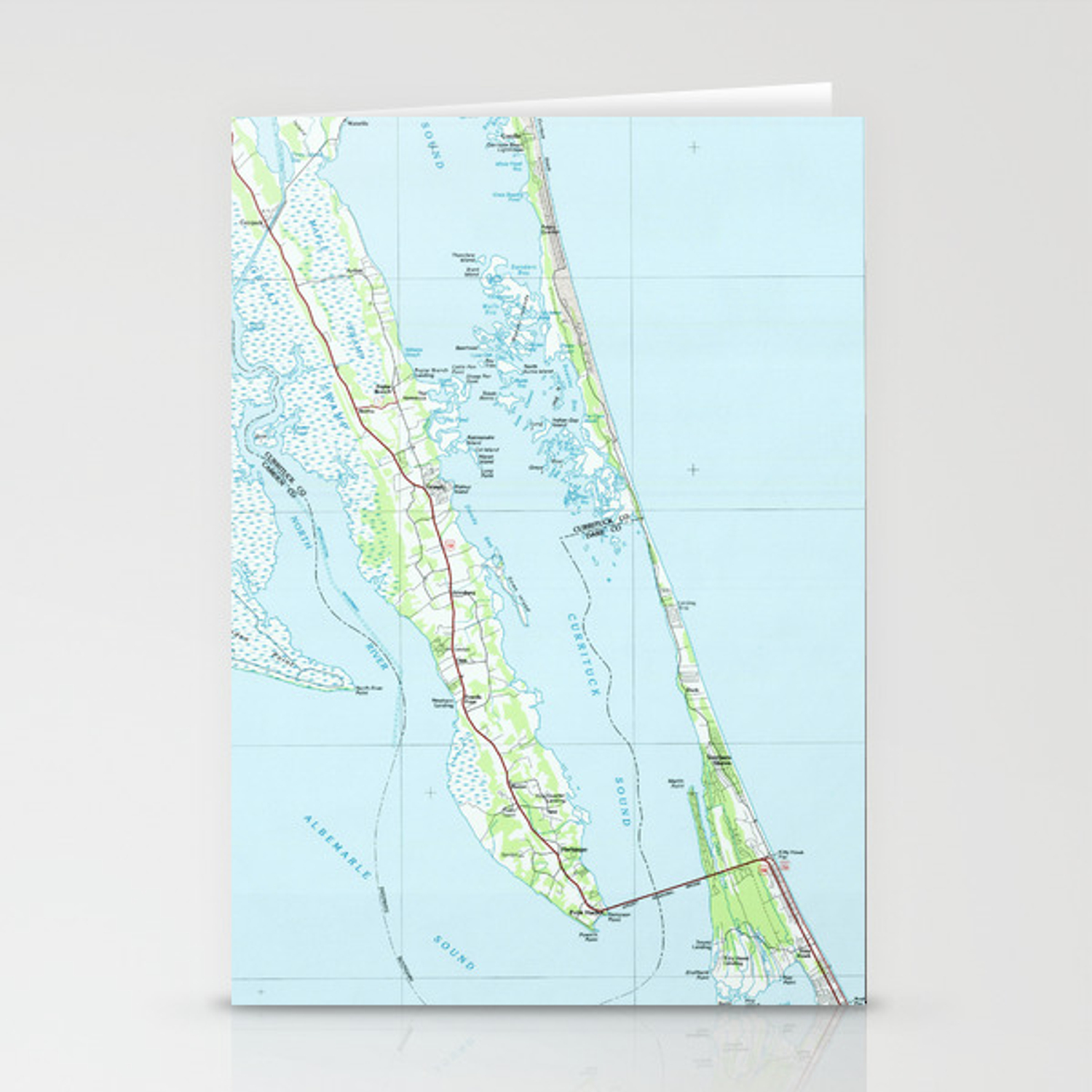 Northern Outer Banks North Carolina Map (1985) Stationery Cards by ...