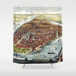 Vintage 19th Century Lithograph of New York City - Manhattan Wall Art Shower Curtain