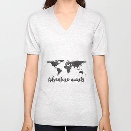 Printable Adventure Awaits World Map Poster, Navy Travel Quote Print, JPG File, Instant Download Unisex V-Neck