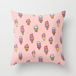 Summer Ice Cream Cone Pattern Throw Pillow
