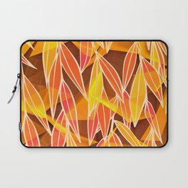 Bright Golden Orange Leaves Floral Print Laptop Sleeve
