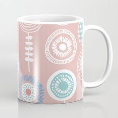 Poppy flowers summer peach blue Mug