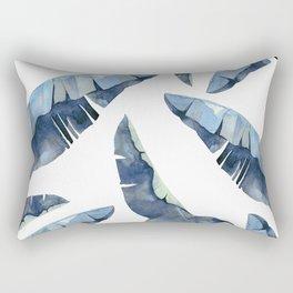 Banana Leaves 2 Blue Rectangular Pillow