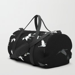 Abstract Black and White Crane Flock #decor #society6 Duffle Bag