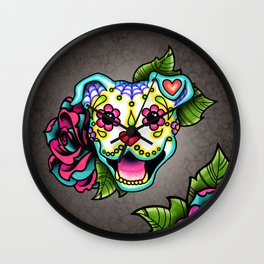 Smiling Pit Bull in White - Day of the Dead Pitbull Sugar Skull Wall Clock