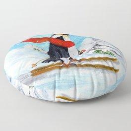 Penguin Alpine Skiing Floor Pillow