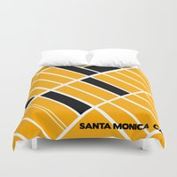 santa monica Duvet Covers featuring Santa Monica Ca. by Studio Tesouro
