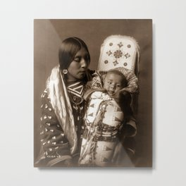 Apsaroke Mother and Child - Curtis - 1908 Metal Print