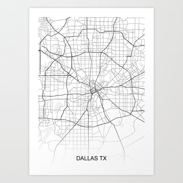 Dallas TX Texas Map White Usa Art Print by ihabdesign on night view of dallas, transportation dallas, hollywood home tour dallas, interactive map of dallas, map of cities around dallas, street map dallas, texas dallas, money dallas, railroad map dallas, zip code map dallas, tourist map of dallas,