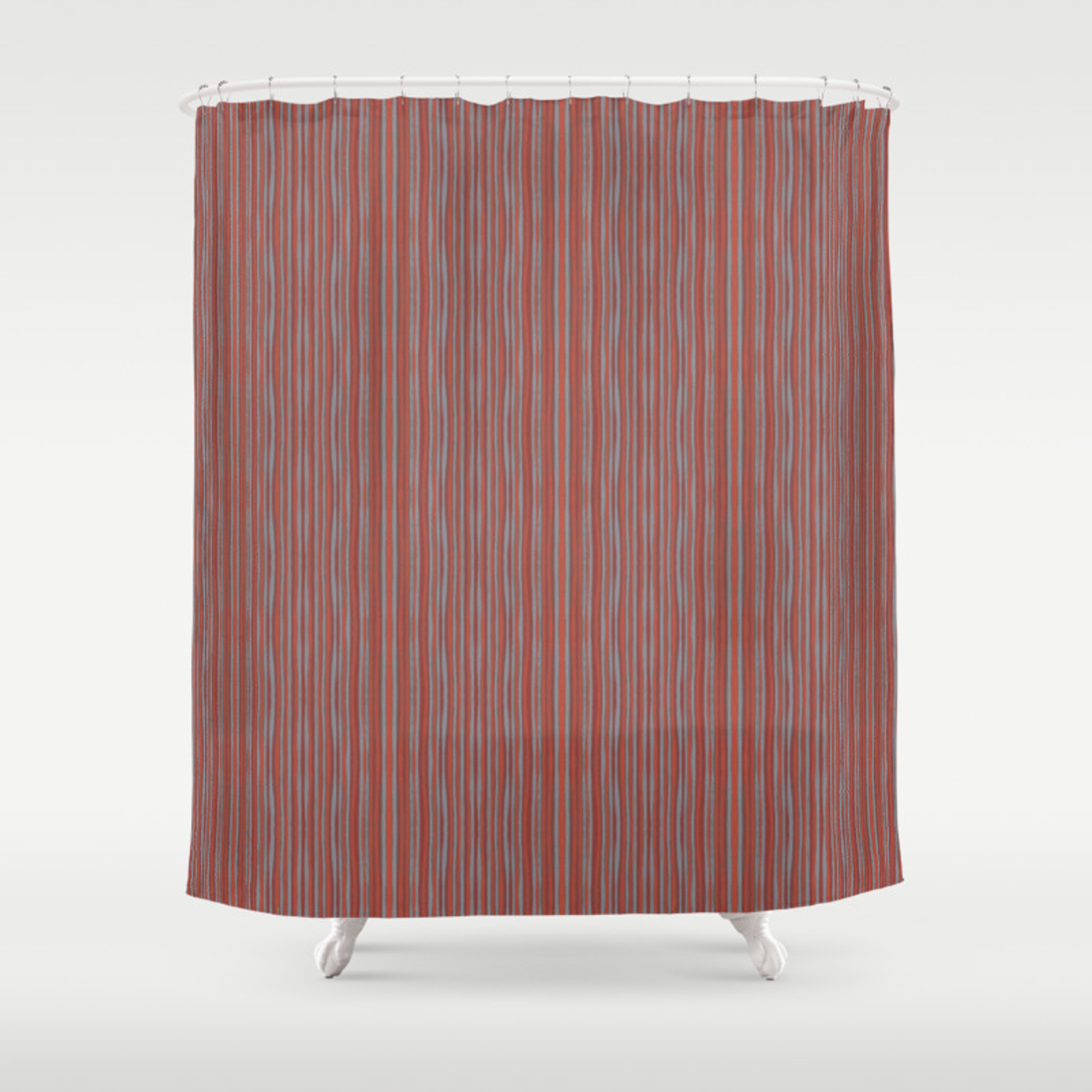 Grey And Terracotta Stripes Shower Curtain