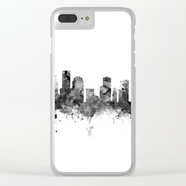 Houston Skyline Black and White Clear iPhone Case