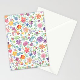 Colorful Whimsical Watercolor Flowers Pattern Stationery Cards