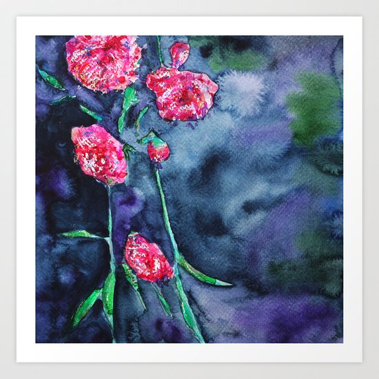 Flowers of the night || watercolor Art Print