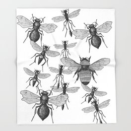 Bees and wasp Flying Throw Blanket
