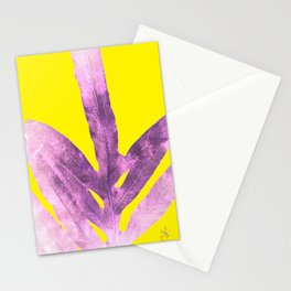 Green Fern on Bright Yellow Inverted Stationery Cards
