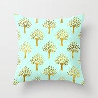 gold foil Throw Pillows featuring Mint Gold Foil 02 by Aloke Design