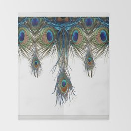 BLUE-GREEN PEACOCK FEATHERS WHITE ART #2 Throw Blanket