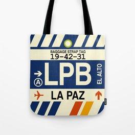LPB La Paz • Airport Code and Vintage Baggage Tag Design Tote Bag