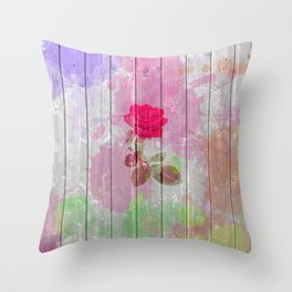 Pink watercolor rose flowers rustic white wood Throw Pillow