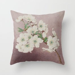 Shirayuki - White Snow Cherry Blossoms Throw Pillow