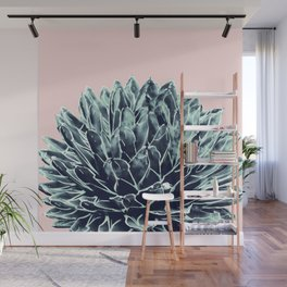 Blush Navy Blue Agave Chic #1 #succulent #decor #art #society6 Wall Mural