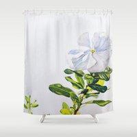 titan Shower Curtains featuring White Titan by Jenny Henderson Studio