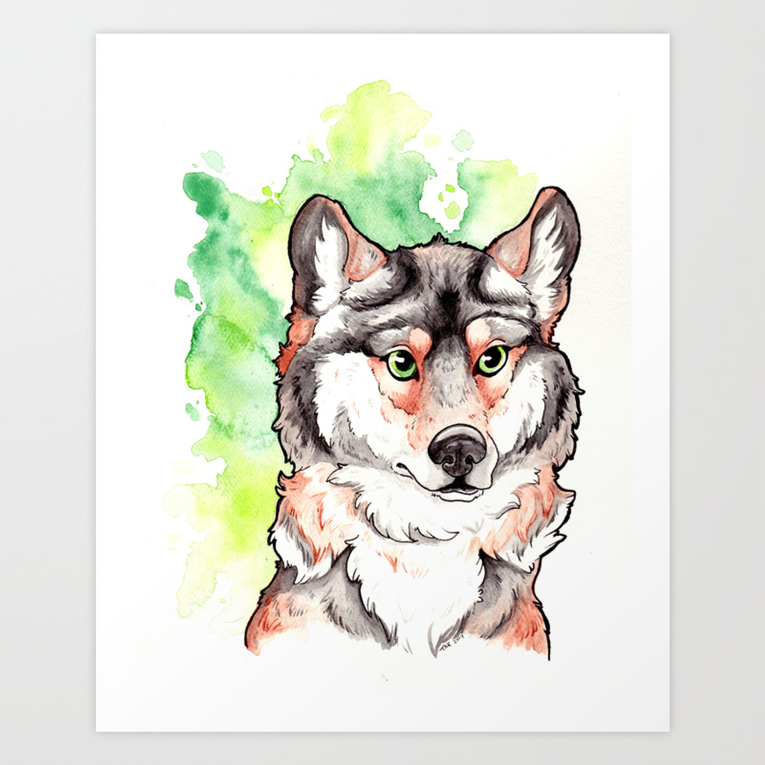 Mexican Gray Wolf Bust Art Print By Taksart Society6