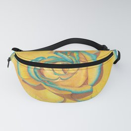 Yellow and Turquoise Rose Fanny Pack