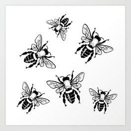 Bees Black Pattern Honeybees Insect Bugs Art Print