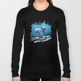 Two Manatees Swimming Long Sleeve T-shirt